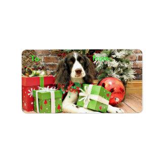 Navidad - perro de aguas de saltador inglés - Kinz Etiqueta De Dirección