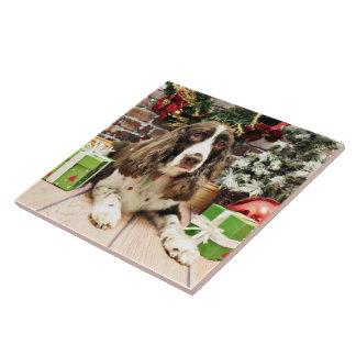 Navidad - perro de aguas de saltador inglés - Loga Azulejo