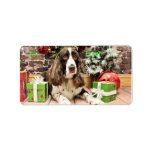 Navidad - perro de aguas de saltador inglés - Loga Etiquetas De Dirección