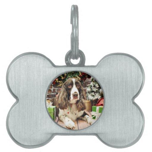 Navidad - perro de aguas de saltador inglés - Loga Placa Mascota