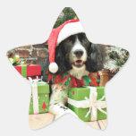 Navidad - perro de aguas de saltador inglés - Lucy Calcomanías Forma De Estrellas