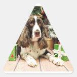 Navidad - perro de aguas de saltador inglés - colcomanias trianguladas