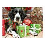 Navidad - perro de aguas de saltador inglés - postal