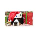 Navidad - perro de montaña de Bernese - Mya Etiqueta De Dirección