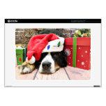 Navidad - perro de montaña de Bernese - Mya Calcomanías Para Portátiles