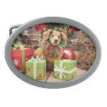 Navidad - perro de patas muy cortas - Heidi Hebillas De Cinturón Ovales