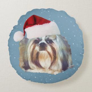Navidad, perro de Shih Tzu, gorra de Santa
