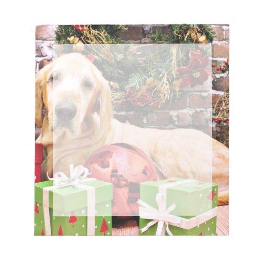 Navidad - perro perdiguero de oro Riley Blocs De Papel