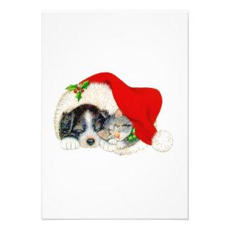 Navidad perro y gato invitación