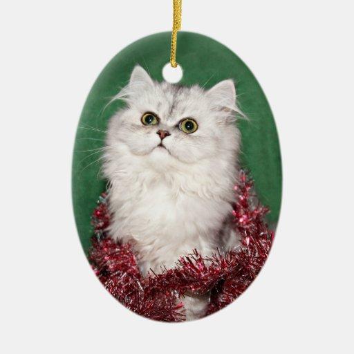 Navidad persa del gatito adornos
