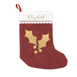 Navidad personalizado acebo de la hoja de oro calcetín navideño pequeño