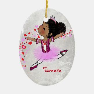 Navidad personalizado bailarina afroamericana adorno navideño ovalado de cerámica