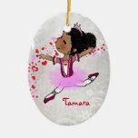 Navidad personalizado bailarina afroamericana ornato