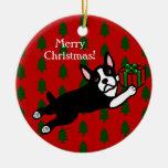 Navidad personalizado de Boston Terrier Adorno Redondo De Cerámica
