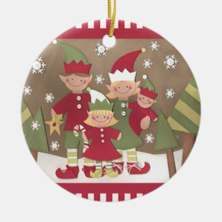 Navidad personalizado de la familia (4) adorno navideño redondo de cerámica