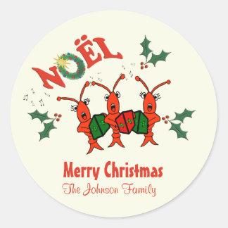 Navidad personalizado de la langosta de los pegatina redonda