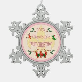 Navidad personalizado de la niña de Cajun primer Adorno De Peltre En Forma De Copo De Nieve