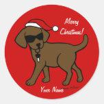 Navidad personalizado del dibujo animado de Labrad Etiqueta