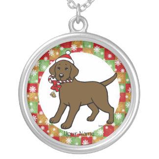 Navidad personalizado del dibujo animado del collar plateado