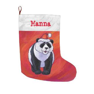 Navidad personalizado festivo de la panda calcetín de navidad grande