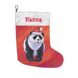 Navidad personalizado festivo de la panda calcetín navideño grande