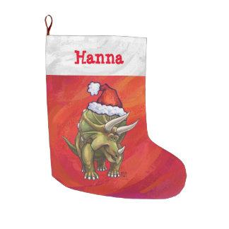 Navidad personalizado festivo del Triceratops Calcetín De Navidad Grande