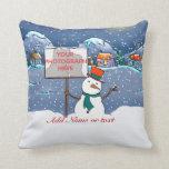 Navidad personalizado lindo del muñeco de nieve de almohada