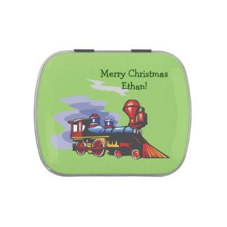 Navidad personalizado locomotora latas de dulces