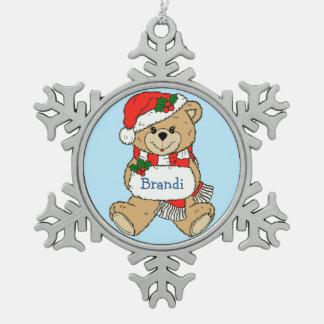Navidad personalizado mimoso del oso de peluche adorno