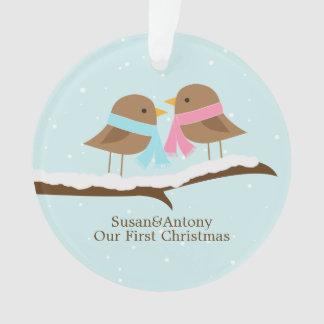 Navidad personalizado pares de los pájaros del