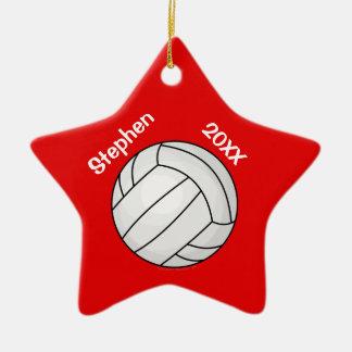 Navidad personalizado rojo del jugador de voleibol adorno navideño de cerámica en forma de estrella