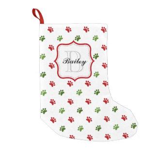 Navidad personalizado rojo verde del nombre del calcetín de navidad pequeño