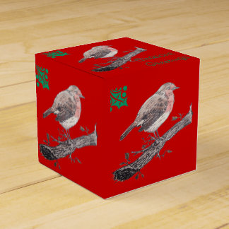 Navidad petirrojo y ejemplo de las hojas de la caja para regalo de boda
