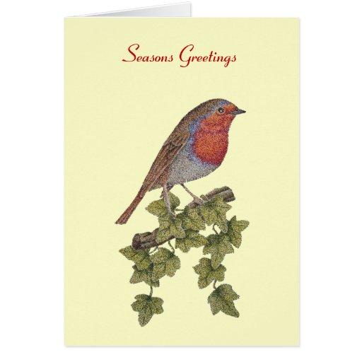 navidad petirrojo y tarjeta de felicitación del ej