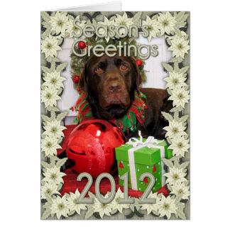 Navidad Photocard de Labrador del chocolate