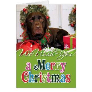 Navidad Photocard de Labrador del chocolate Tarjetas