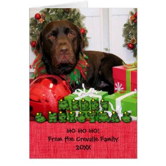 Navidad Photocard de Labrador del chocolate Felicitación