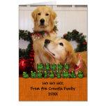 Navidad Photocard de los perros perdigueros de oro Tarjeta Pequeña