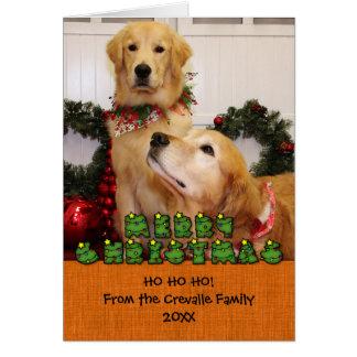 Navidad Photocard de los perros perdigueros de oro Felicitaciones