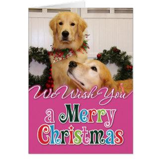 Navidad Photocard de los perros perdigueros de oro Tarjeta