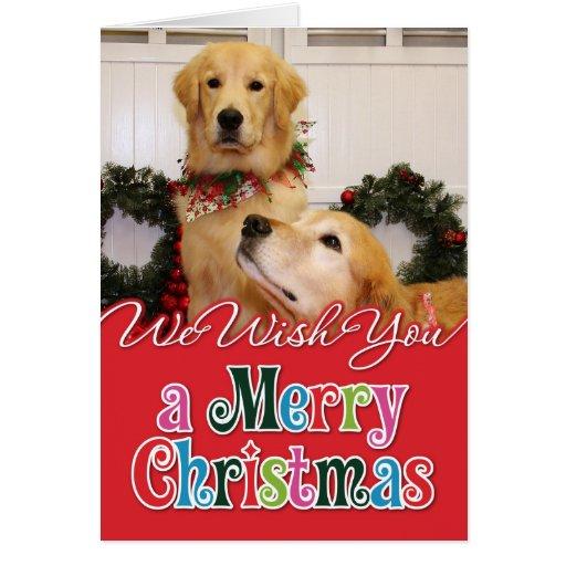 Navidad Photocard de los perros perdigueros de oro Tarjeta De Felicitación