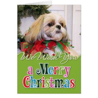 Navidad Photocard de Shih Tzu Tarjeta