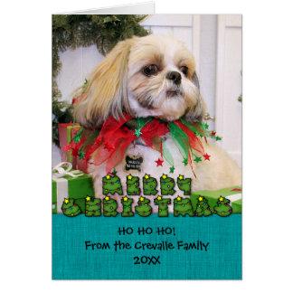 Navidad Photocard de Shih Tzu Tarjetas
