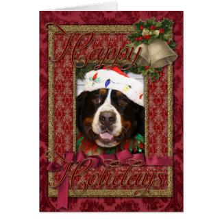Navidad Photocard del perro de montaña de Bernese