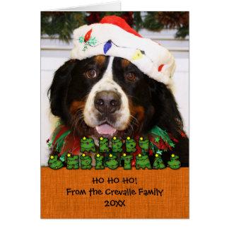 Navidad Photocard del perro de montaña de Bernese Tarjeta