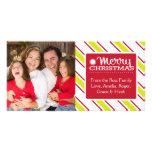 Navidad Photocards con la raya verde y roja Tarjeta Personal