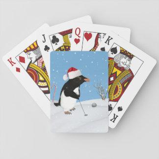 Navidad, pingüino que juega a golf baraja de cartas