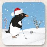 Navidad, pingüino que juega a golf posavasos