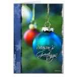 Navidad pintado Bulbo-Azul Felicitaciones
