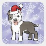 Navidad Pitbull/Staffordshire Terrier americano Calcomania Cuadradas Personalizada